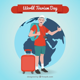 World tourism day, flat character