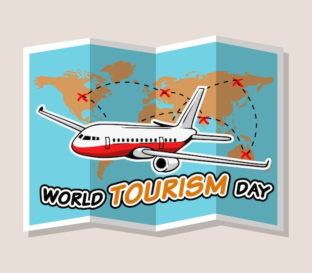 World tourism day greeting vector illustration design.