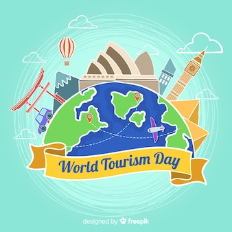 World tourism day hand drawn