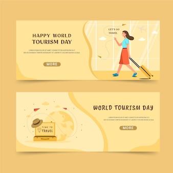Набор горизонтальных баннеров всемирного дня туризма