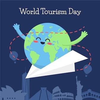 Концепция иллюстрации всемирного дня туризма