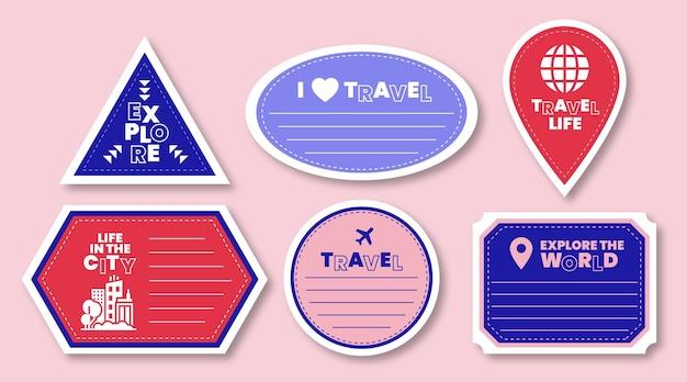 Collezione di etichette per la giornata mondiale del turismo