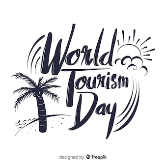 World tourism day lettering background