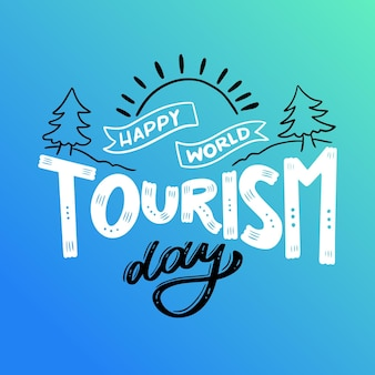 World tourism day lettering concept
