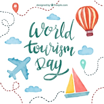 World tourism day, lettering with watercolors