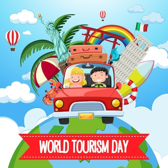 World tourism day logo with couple tourist and famous tourist landmarks elements