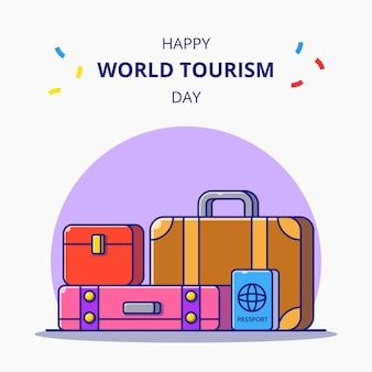 Всемирный день туризма. багаж и паспорт для праздничной карикатуры. концепция значок туризма.