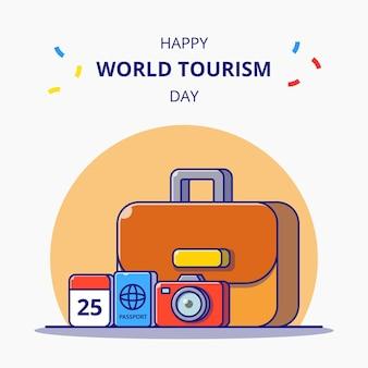 Всемирный день туризма. багаж и вещи для праздника. карикатура иллюстрации. концепция значок туризма изолированы.