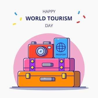 Всемирный день туризма. багаж, фотоаппарат и паспорт для праздничных карикатур. значок туризма.