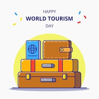 Всемирный день туризма. багаж, бумажник и паспорт для праздничной карикатуры. значок туризма.