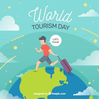 World tourism day, a man traveling around the world