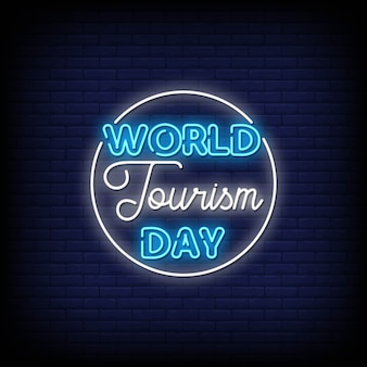 World tourism day neon signs style text