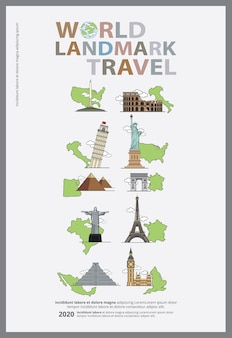 The world tourism day poster design template vector illustration