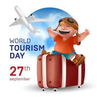 Всемирный день туризма, праздник 27 сентября - иллюстрация со счастливым путешествующим мальчиком в шлеме, сидящим на чемодане и летящим самолетом на фоне земного шара голубого неба