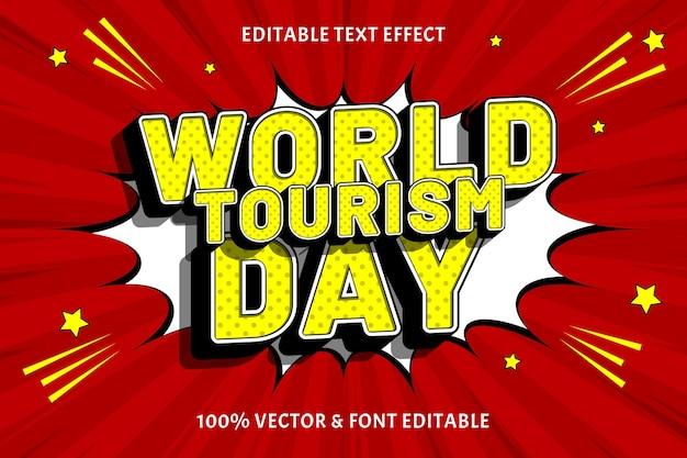Всемирный день туризма текстовый эффект с тиснением в стиле комиксов