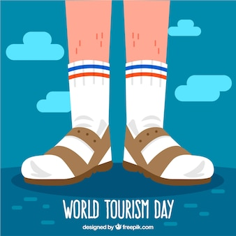 World tourism day, tourist feet