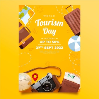 World tourism day vertical flyer template with photo