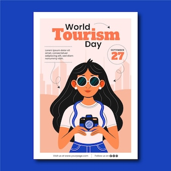 World tourism day vertical flyer template