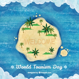World tourism day, watercolor background with an island