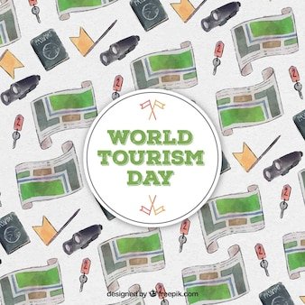 World tourism day, watercolor background with maps