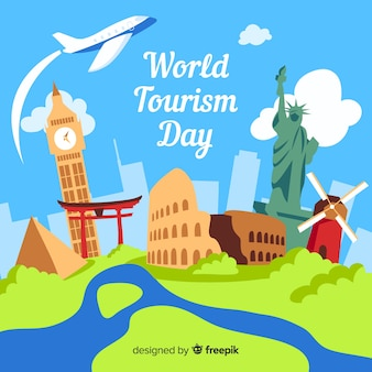 World tourism day with landmarks