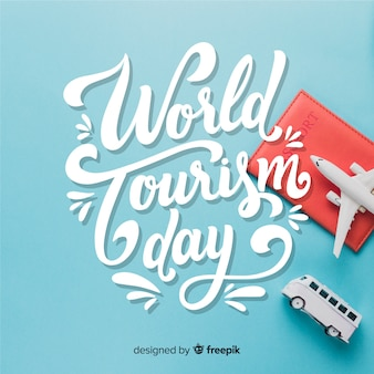 World tourism day with travel elements