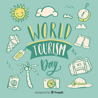 World tourism day with travel objects lettering