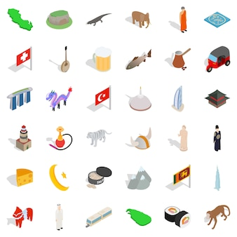 World tourism icons set, isometric style