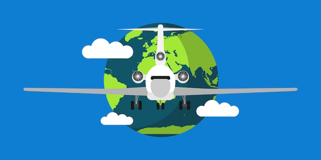 World travel air vector illustration background