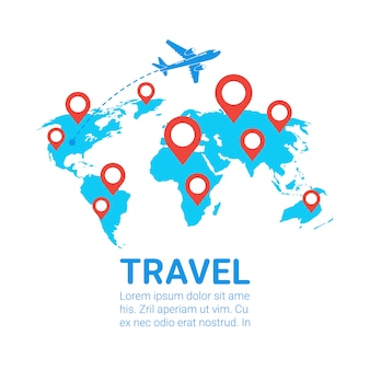 World travel by plane template banner airplane fly over earth map with red navigation pointers