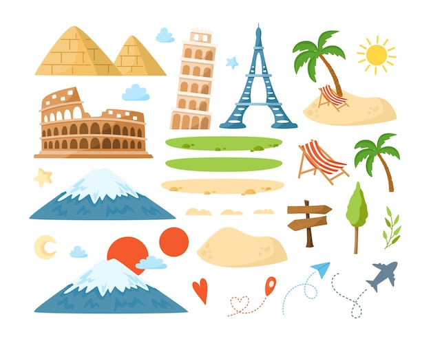 World travel cartoon landmarks