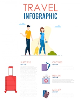 World travel infographic. man and woman journey