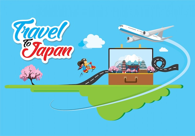 World travel of japan vector template