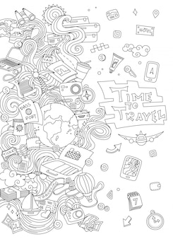 World travel set. hand drawn simple vector sketches collection