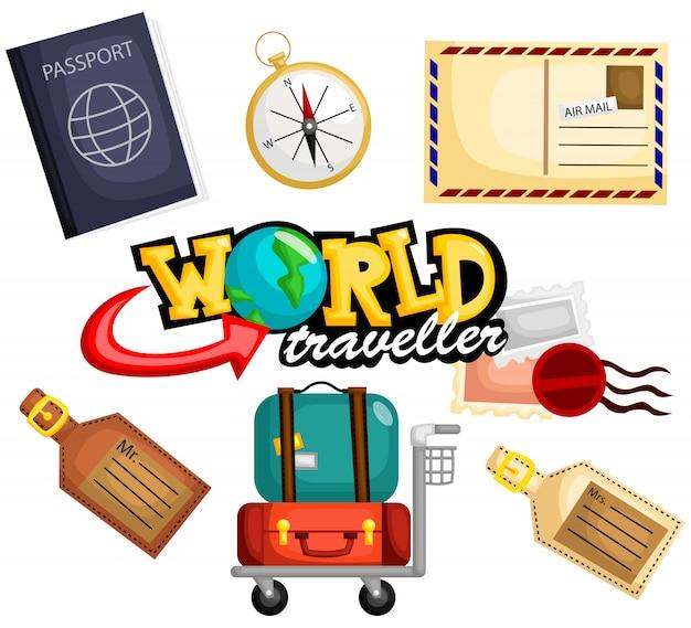 World travel vector set
