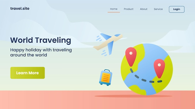 World traveling campaign for web website home homepage landing template