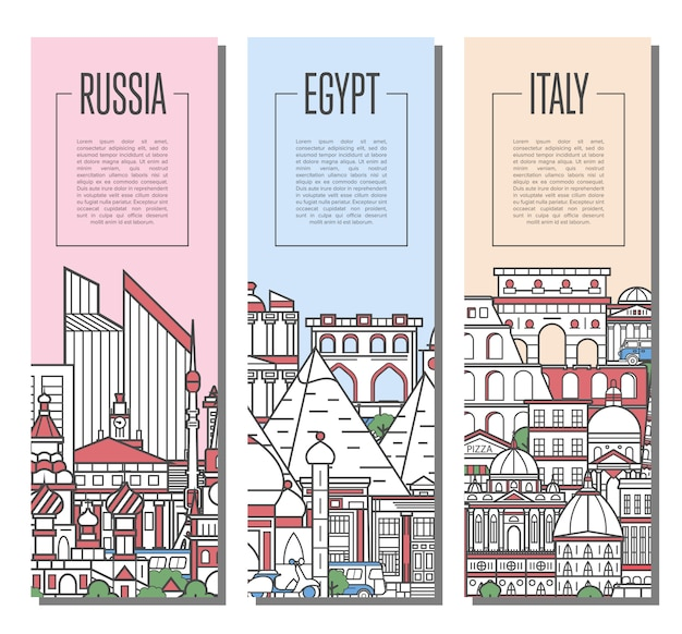 World traveling tour banners in linear style