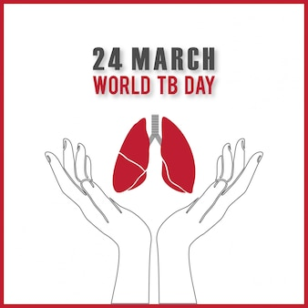 World tuberculosis day, background with lungs on the hands