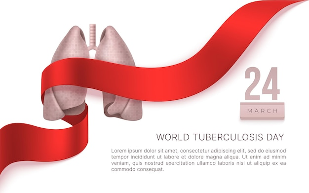 World tuberculosis day march 24. lungs,  red ribbon. tb awareness sign