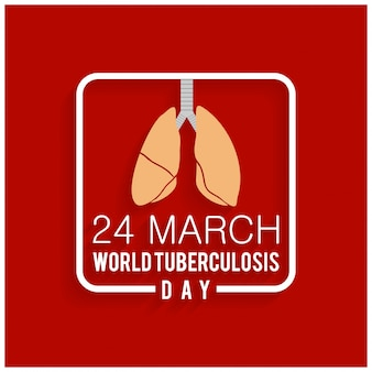 World tuberculosis day, red background with lungs