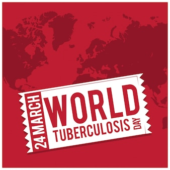 World tuberculosis day, red background with a map