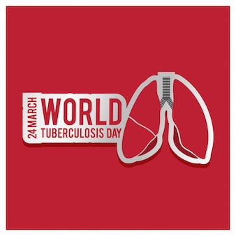 World tuberculosis day, red background with red lungs