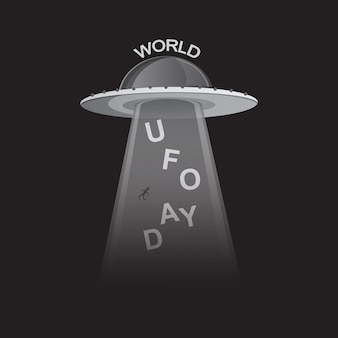 World ufo day in black and white style