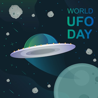 World ufo day illustration