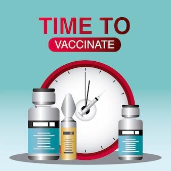 세계 백신 코로나 바이러스 시간 예방 접종 바이알 치료 의료 일러스트