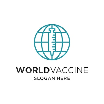 World vaccine with injection globe logo vector template