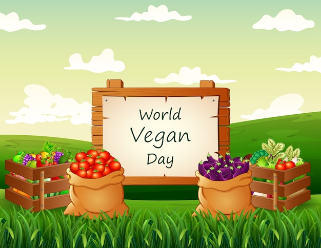 World vegan day background with vegetables at nature
