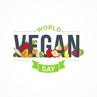 Всемирный день вегана баннер празднования векторной графики