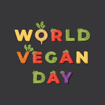 World vegan day illustration.