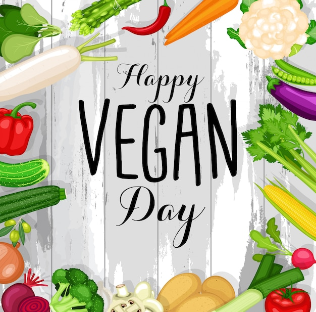 World vegan day poster with flat design vegetables background
